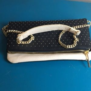 BCBG GENERATION BLACK AND WHITE GOLD STUDDED PURSE